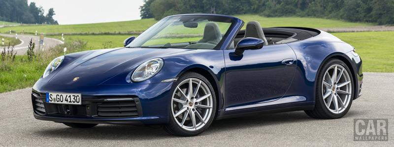Обои автомобили Porsche 911 Carrera Cabriolet (Gentian Blue Metallic) - 2019 - Car wallpapers